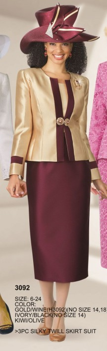 Lily And Taylor 3092 Womens 2 Tone Church Suit French Novelty