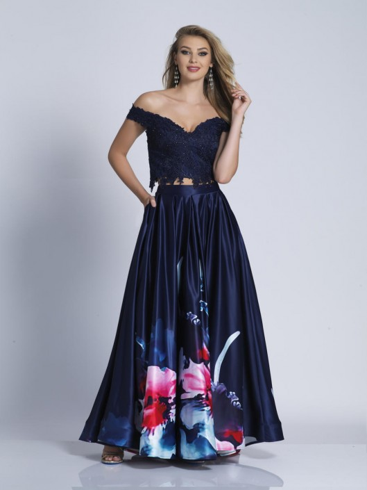 7c45bb302844 Dave and Johnny 3101 Off Shoulder 2pc Floral Prom Dress: French Novelty