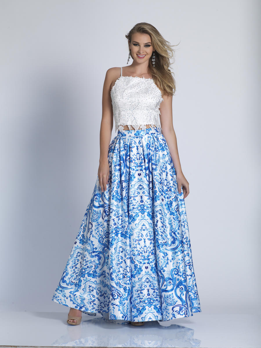 87aa77a513 Dave and Johnny 3103 Print 2 Piece Prom Dress  French Novelty
