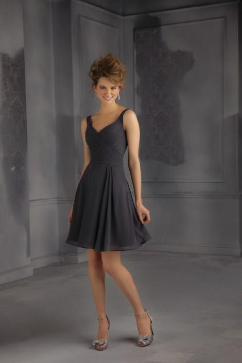 Short Charcoal Bridesmaid Dresses
