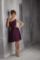 Size 12 Eggplant Mori Lee Affairs 31043 Short Bridesmaid Dress image