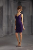 Size 14 Grape Mori Lee Affairs 31044 Short Bridesmaid Dress image