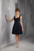 Size 14 Black Mori Lee Affairs 31046 Short Lace Bridesmaid Dress image