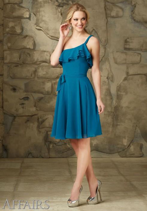Mori Lee Affairs 31066 One Strap Ruffle Short Bridesmaid Dress ...