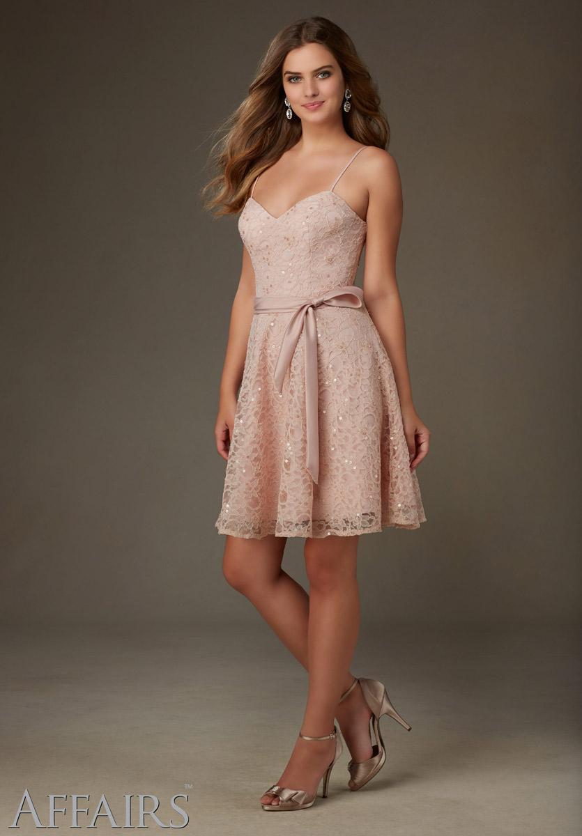 Mori Lee Affairs 31071 Short Beaded Lace Bridesmaid Dress