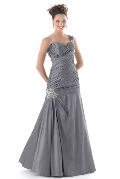 Mystique One Shoulder Dropped Waist Prom Dress 3136: French Novelty