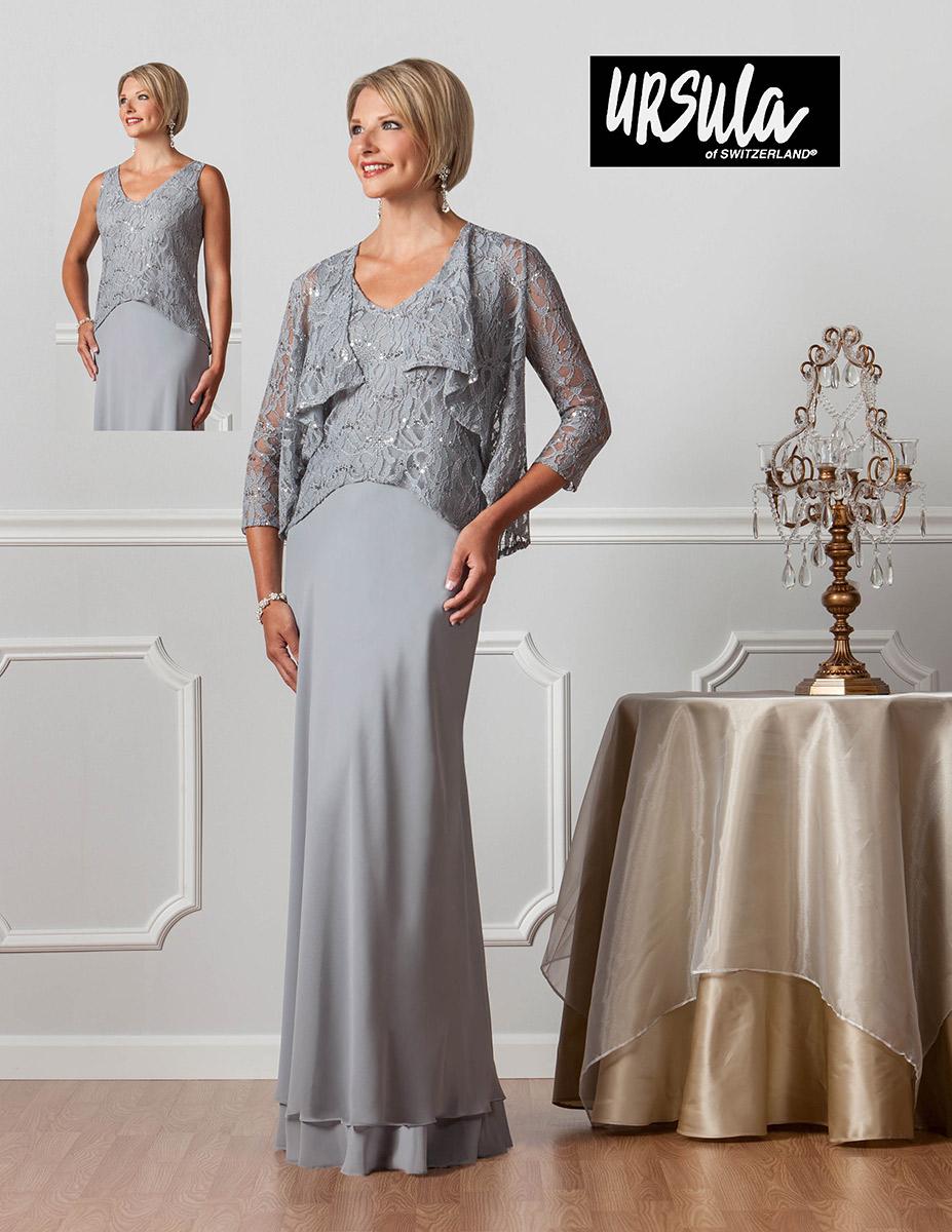 Ursula 31362 Long Dress With Lace Jacket French Novelty