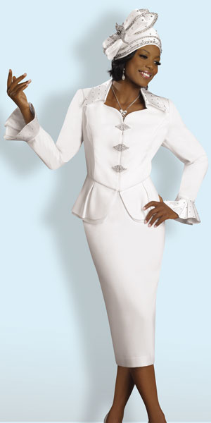 Lisa Rene by Donna Vinci Womens White Church Suit 3149: French Novelty
