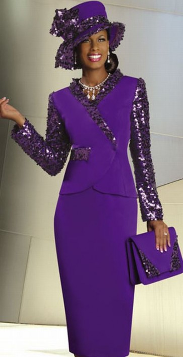 Lisa Rene By Donna Vinci Womens Purple Church Suit With Sequins 3159