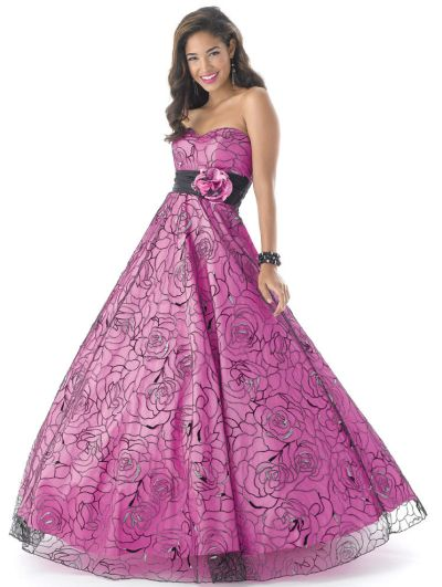Mystique Neon Prom Dress In Rose Printed Tulle 3175 French Novelty