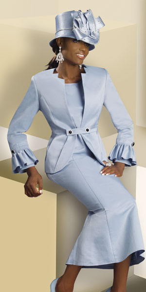 Lisa Rene By Donna Vinci Womens Light Blue Church Suit 3176 French