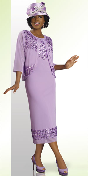 Lisa Rene By Donna Vinci Womens Lavender Church Suit 3178