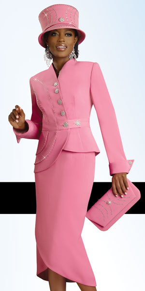 Lisa Rene By Donna Vinci Womens Rose Pink Church Suit 3182