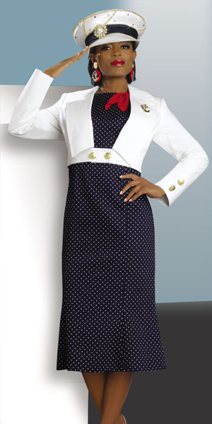 Lisa Rene By Donna Vinci Womens Navy Nautical Jacket Dress 3191