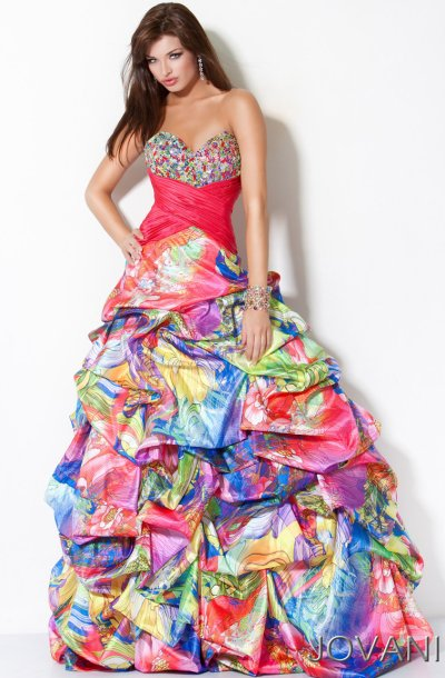 Jovani Colorful Pickup Ball Gown for Prom 3204: French Novelty