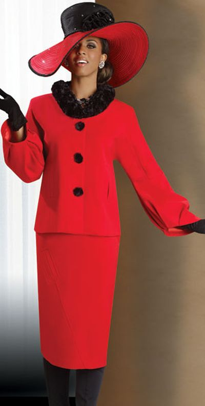 Lisa Rene 3206 Womens Faux Fur Collar Church Suit By Donna