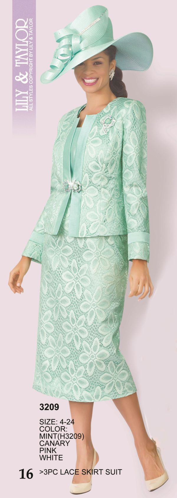 Lily And Taylor 3209 Womens Floral Design Lace Suit