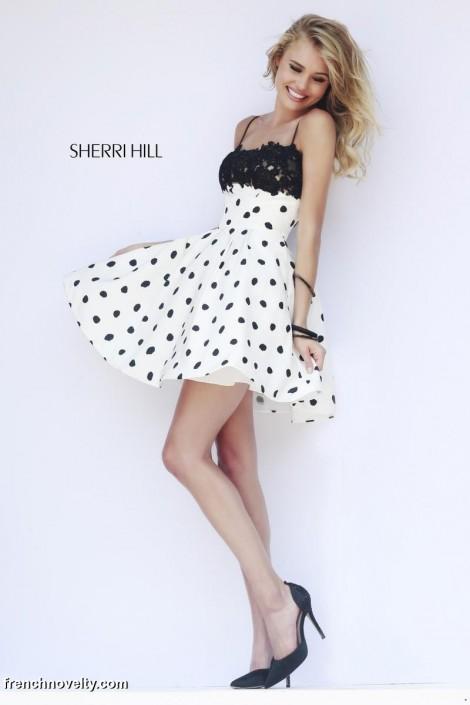 bb434f9fd61 Sherri Hill 32178 Polka Dot Short Prom Dress  French Novelty