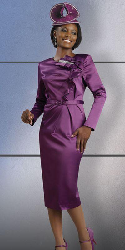 Lisa Rene 3222 Womens Satin Church Dress With Rhinestones By Dv