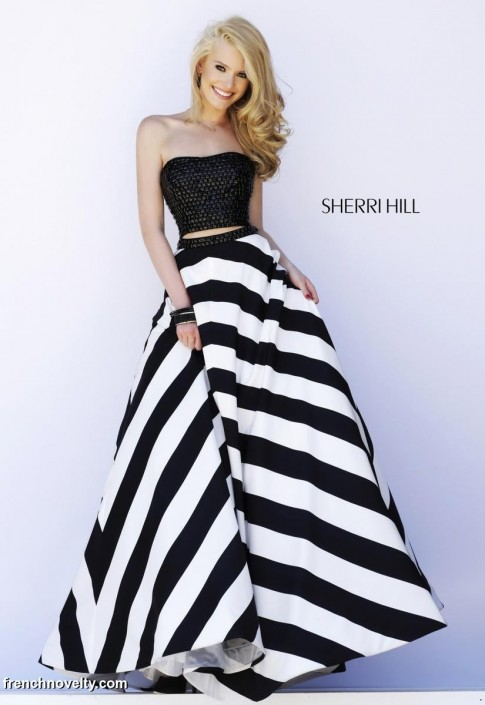 Sherri Hill 32221 Two Piece Stripe Gown: French Novelty