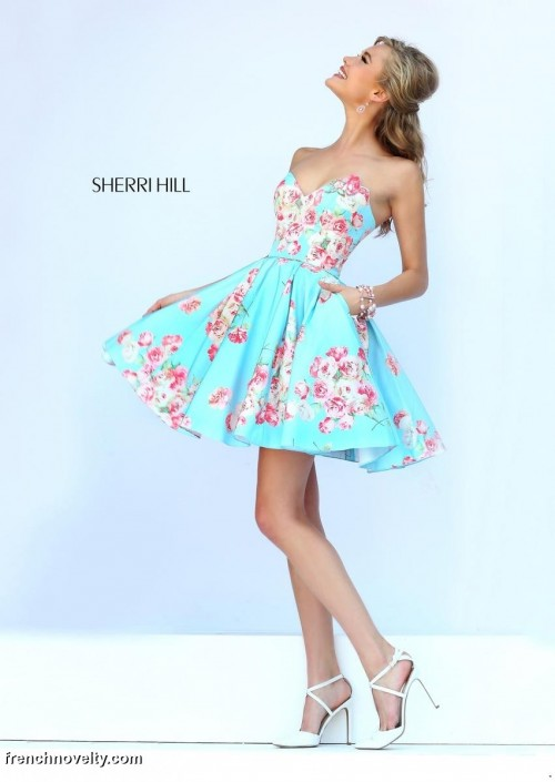 Sherri Hill 32246 Floral Short Dress with Pockets: French Novelty