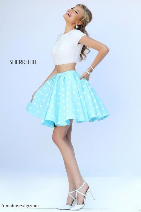1f1d98f5641 Sherri Hill 32247 Polka Dot Short 2pc Dress  French Novelty