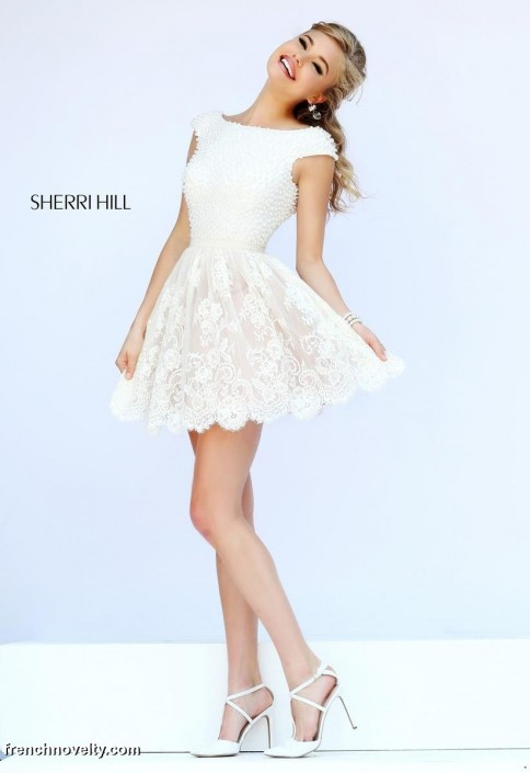 Sherri Hill 32257 Short Lace Prom Dress: French Novelty