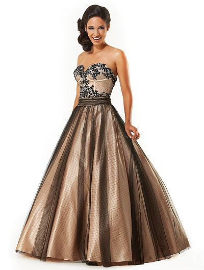 Mystique Dotted Tulle Prom Dress 3228 by Bonny Bridal: French Novelty