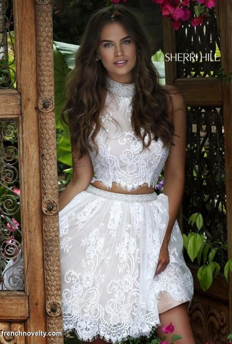 252b0b0c670 Sherri Hill 32290 Lace 2pc Short Prom Dress  French Novelty