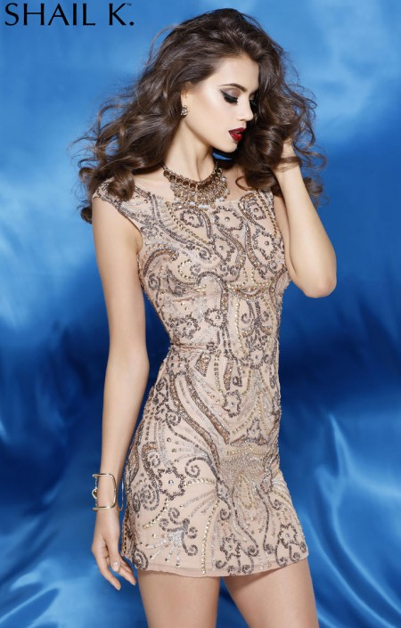 Shail K 3234 Two Tone Beaded Cocktail Dress: French Novelty
