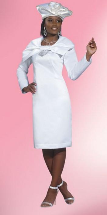 Lisa Rene 3245 Pure White Satin Church Dress: French Novelty