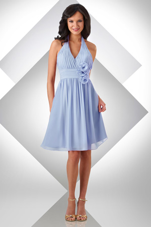 5636411deb5c Bari Jay Short Halter Chiffon Bridesmaid Dress with Flowers 330: French  Novelty