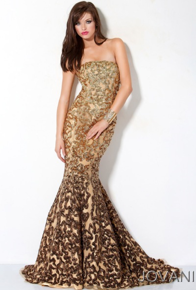 Jovani Gold Embellished Mermaid Prom Dress 3343: French Novelty