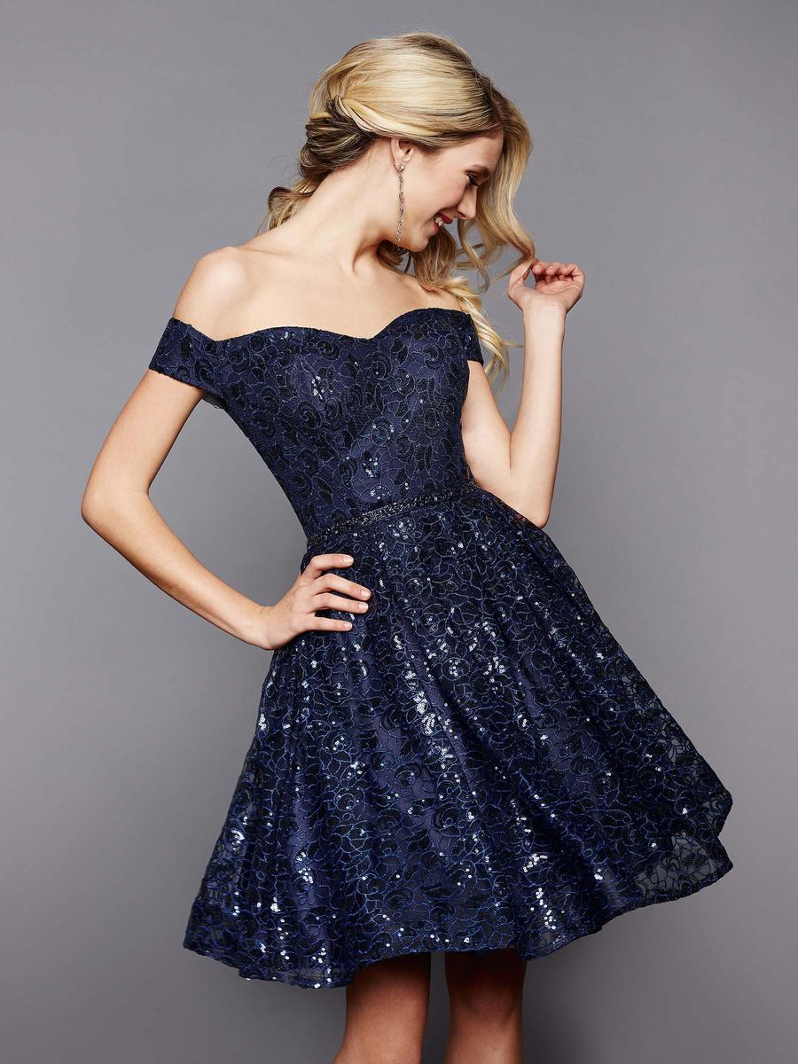 Clarisse 3345 Sequin Lace Off The Shoulder Short Dress