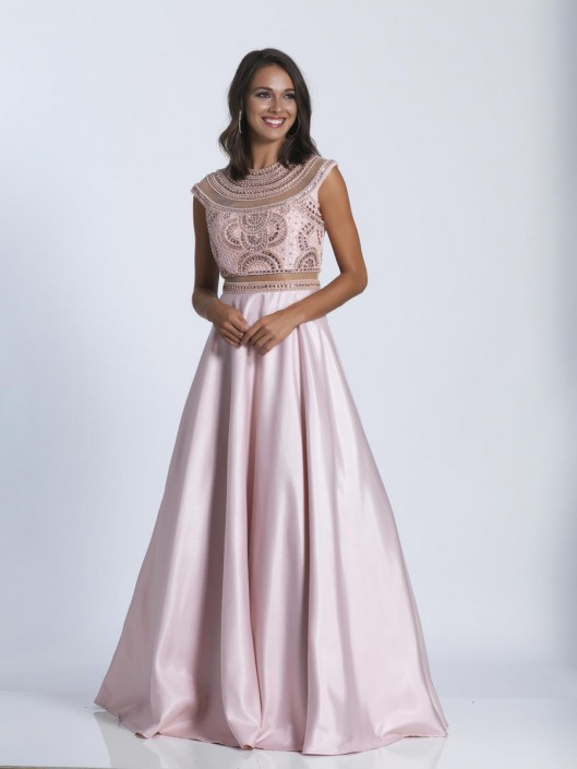 Dave and Johnny 3356 Evening Gown with Sheer Beading: French Novelty