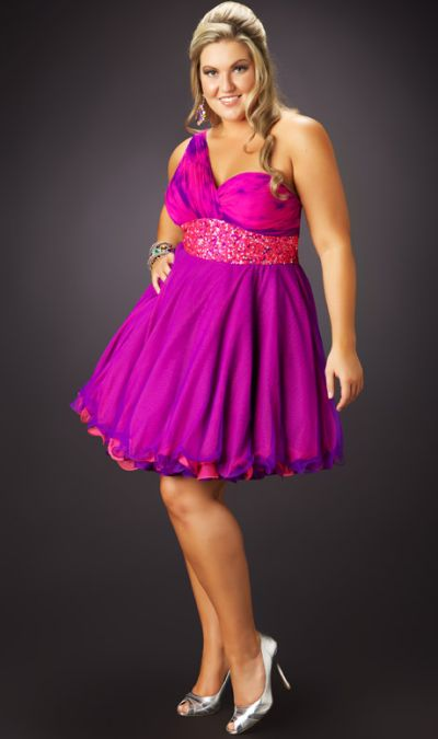 Fabulouss Plus Size 1 Shoulder Short Prom Dress by MacDuggal 3367F
