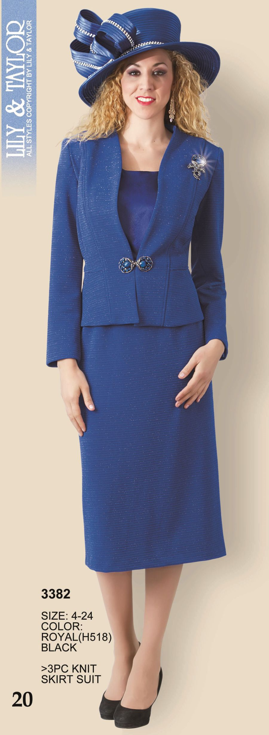 Lily And Taylor 3382 Womens 3pc Knit Church Suit French