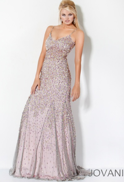Jovani Long Beaded Designer Prom Dress 3383: French Novelty