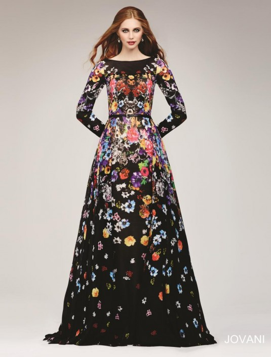 e2a9954b97 Jovani 33925 Long Sleeve Floral Print Gown  French Novelty