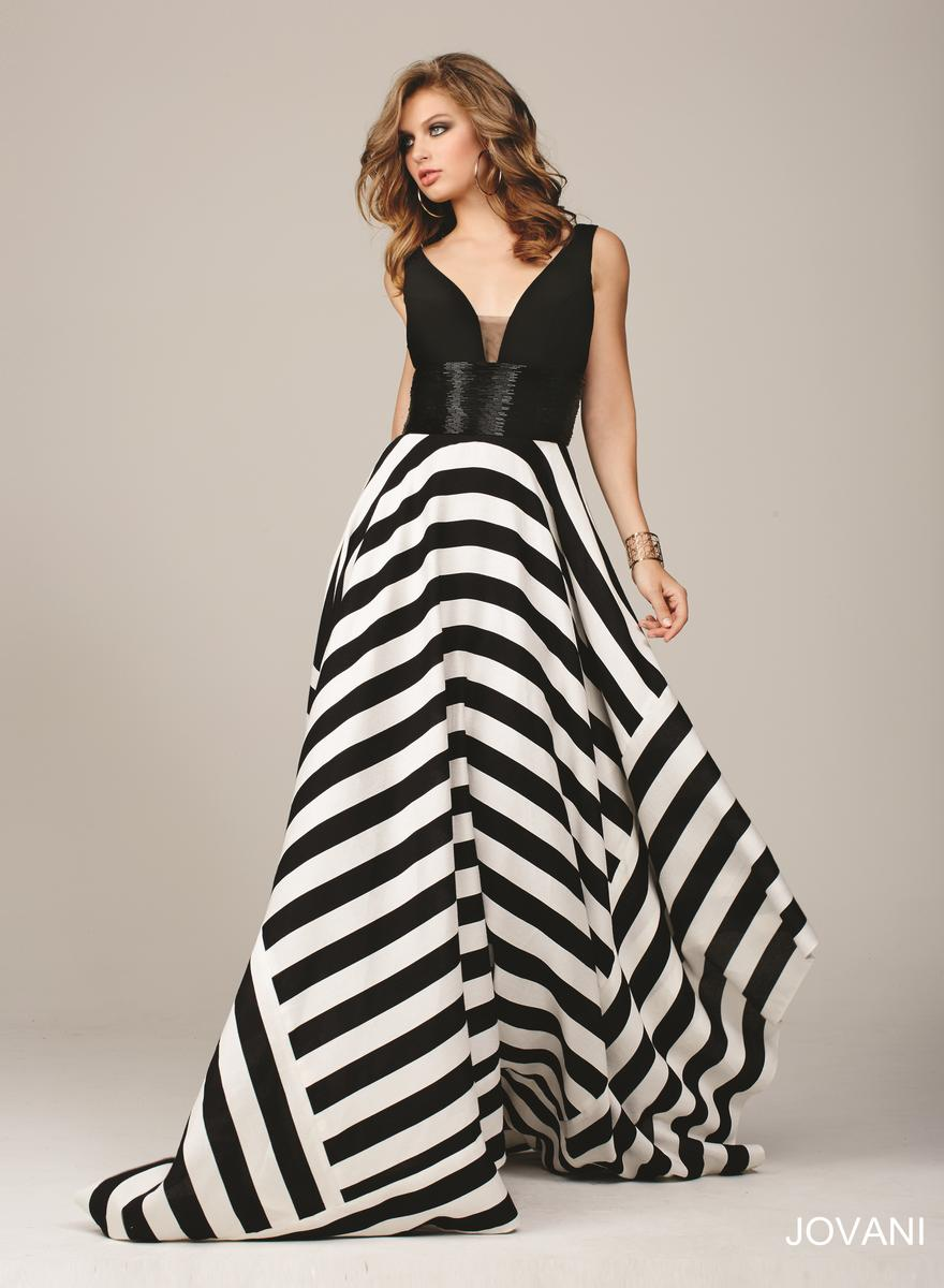 Jovani 33959 Gown With Striped Asymmetrical Hem French