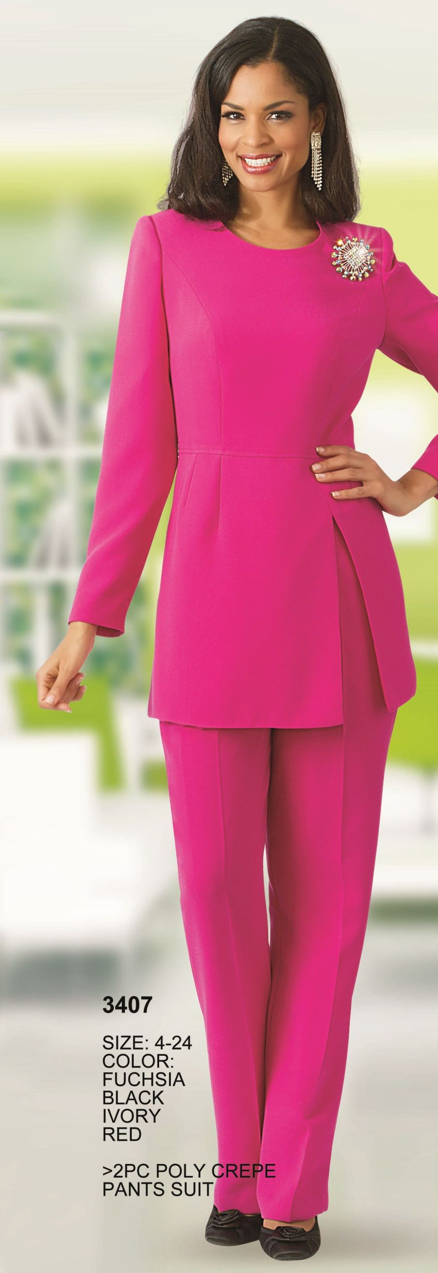 Lily And Taylor 3407 Womens Crepe Church Pant Suit French