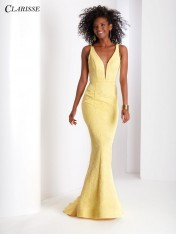 1d67688c7ca Size 18 Yellow Clarisse 3416 Brocade Mermaid Dress