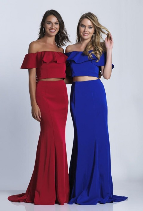 04f8c10b386e Dave and Johnny 3416 Ruffle Off Shoulder 2pc Prom Dress: French Novelty