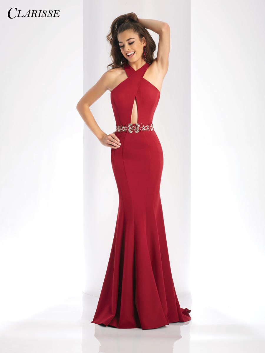 Clarisse 3417 Keyhole Knit Prom Dress French Novelty