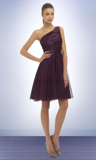 7fe1767a97e ... bill levkoff 342 bobbinette one shoulder bridesmaid dress ...