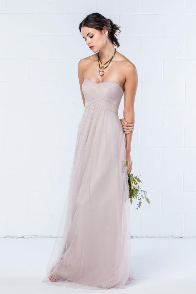 Size 10 Latte Wtoo 342 Ruched Bobbinet Bridesmaid Dress