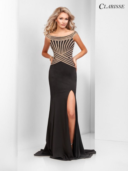 35d999924a9 Size 22 Black-Gold Clarisse 3436 Sparkling Off the Shoulder Gown  French  Novelty