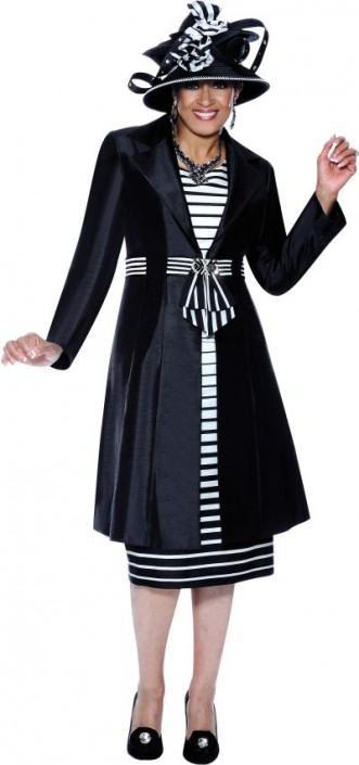 Dorinda Clark Cole 3438 Womens Black Off White Church Suit French