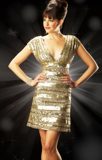 Mac Duggal Evening Spicy Metallic Cocktail Dress 3456T: French Novelty