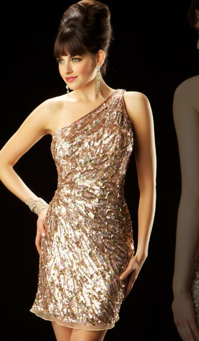 MacDuggal Evening One Shoulder Striped Sequin Cocktail Dress 3472T ...